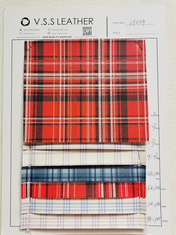 Plaid Printed PVC Leather Fabric